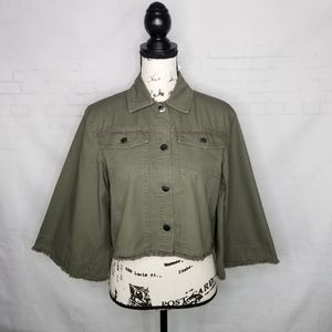 JACK BY BB DAKOTA Raw Hem Crop Jacket Green Size M